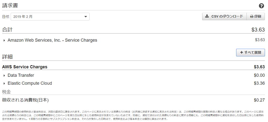 Amazon AWS 請求書
