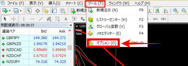 MT4メールアラート機能設定方法①