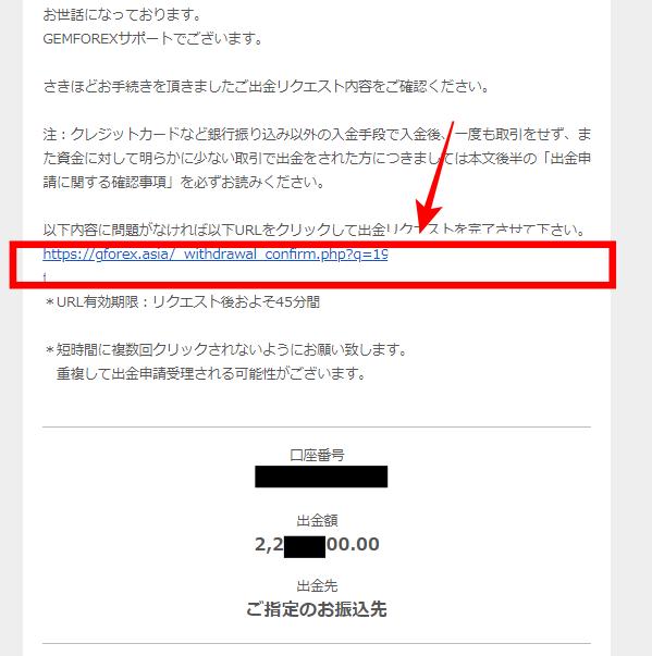 Gemforex出金のメール