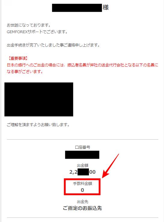 Gemforex出金完了のメール②